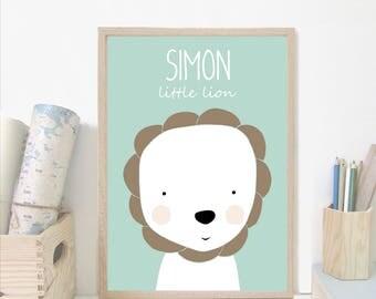 Custom baby nursery wall art,lion nursery print,Personalised wall print, custom name,green Nursery art prints ,baby nursery decor,Kids Room