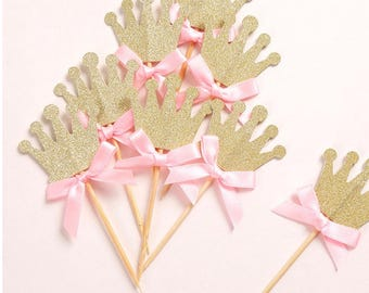 Princess Crown cupcake toppers, bridal shower cupcake topper