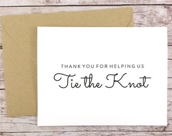 Thank You For Helping Us Tie the Knot Card, Thank You Card, Bridesmaid Thank You Card, Bridesmaid Gift - (FPS0016)