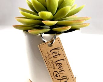 Succulent Let Love Grow Wedding Favor Tags, Thank You Favors, Plant Favors, Rustic Wedding Favors, Flower Seed Favors, 18