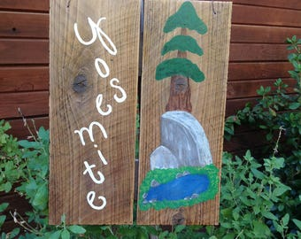 Yosemite, wall hanging, home decor, cabin sign, yard art, nature, half dome, sequoia trees, national forest, handmade wood sign,
