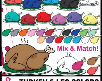 Color Matching: Turkeys and Leg Clipart