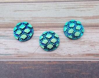 10 pieces round Cabochon 12 mm Mermaid/shell - blue iridescent AB Rainbow