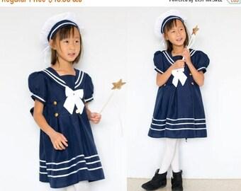 Toddler and Girl Nautical Marine Sailor Dress Costume with Hat, Halloween Birthday