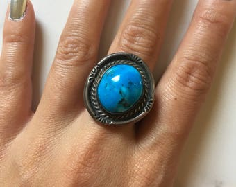 Vintage Sterling Silver + Turquoise Large Circular Women's Ring size 6.75