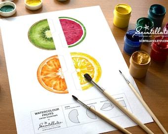 DIY Watercolour Fruits Corner Bookmark / Page Marker - Watermelon/Kiwi/Orange/Lemon - Printable, Instant Download