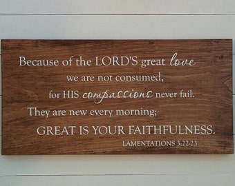 Lamentations 3:22-23 Great is Your Faithfulness, wood sign, Christian Scripture Rustic Wall Art, wooden signs, Bible verse, rustic decor