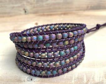 Purple wrap bracelet, purple and blue bracelet, for her, Valentines