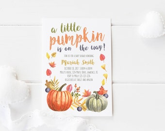 Pumpkin Baby Shower/Little Pumpkin is on the Way/Girl/Boy/Fall Invitations/Watercolor/Printable PDF/Party/Orange/Leaves/Pumpkin Patch/Autumn
