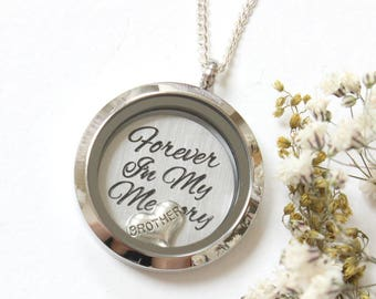 Brother Memorial Necklace, Forever in my Heart, Memorial Jewelry, Remembrance Jewelry, In Memory of Brother, Loss of Brother, Sympathy Gift