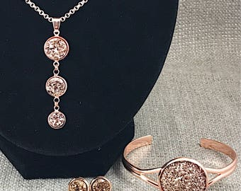 Easter Gift - Rose Gold Druzy Jewelry Set -  - Rose Gold Jewelry - Druzy Necklace - Jewelry - Rose Gold - Bracelet - Earrings - Druzy - Gift