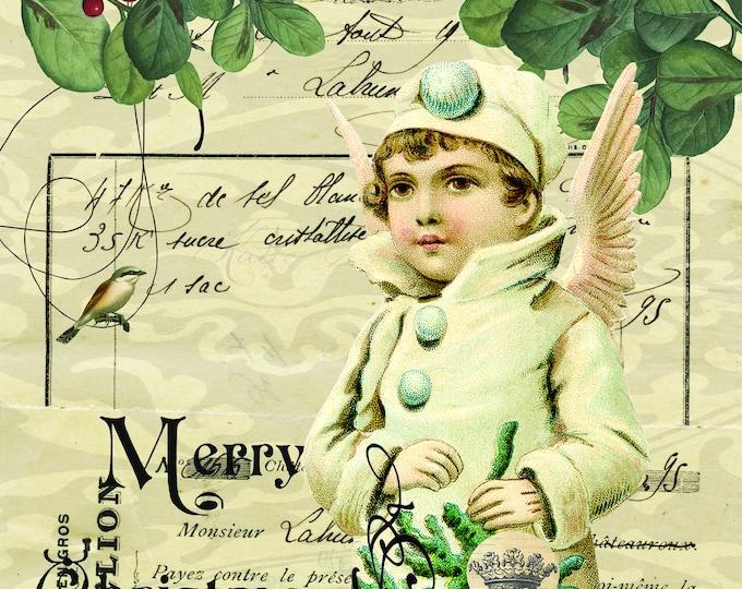 Vintage Angel, Ephemera, Merry Christmas, Wall art, Scrapbooking, Craft Paper, Digital Art, Christmas Print, Bird, Berry,