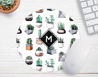 Monogram Mouse Pad, Cactus Mousepad, Gift for coworker, Office Decor, Modern Mousepad, Succulent Mouse Pad, Cubicle Decor, Cute Mouse Pad