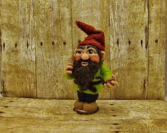 Gnome needle felted elf, bearded gnome doll with pipe,  felted wool dwarf, gnome felt wool doll, one of a kind fairy garden fantasy folklore