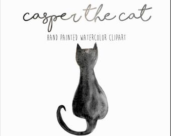 Casper The Cat, Watercolor Clipart, Cat Clipart, Black Cat Clipart, Halloween Clipart, Watercolor Cat, Kitty Clipart, Cat Art, Black Cat