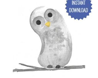 Printable Owl, Watercolor Print, Owl Watercolor, Instant Download, Nursery Decor, Woodland Animal, Woodland Printable, Shower Gift, Wall Art