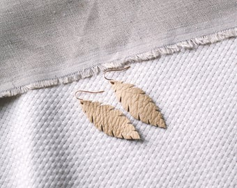 Tan Natural Leather Feather Earrings