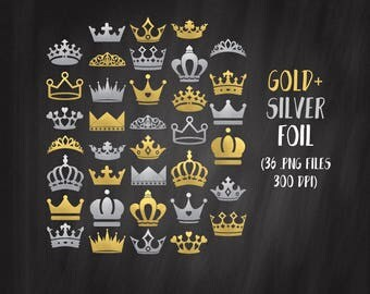 Gold Crown Clipart, Silver Crown Clipart Set, Crown Silhouette PNG, King Crown, Queen Crown, Tiara Clipart, Commercial Use