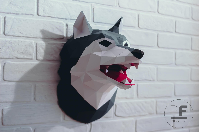 Как сделать из бумаги голову волка чертёж
