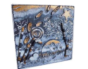 """Petit cadre, Toile 3D, toile carrée, peinture paysage, paysage féérique, """"Tous à l'abri"""""""