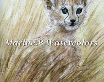 Watercolor Cheetah Art Print 8 x 10 in