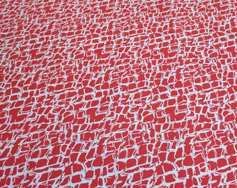 Red and White Patterned Cotton Fabric