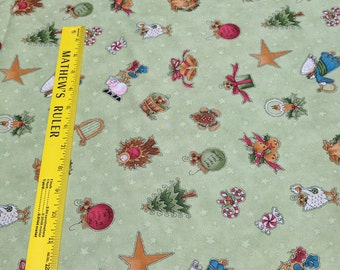 Do You See What I See?-Ornaments on Green Cotton Fabric from Henry Glass