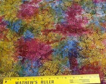 Batavian Batiks(Pattern 22090)-Multicolored Flower Batik Cotton Fabric