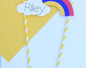 Personalized Rainbow Cake Topper, Rainbow Party | Girl or Boy Birthday Cake Topper | Custom Rainbow Birthday Decorations