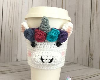 Unicorn Cup Cozy, Unicorn Crochet Cup Sleeve