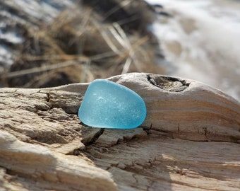 "Genuine Perfectly smoothed flawless Light Cornflower Blue Sea Glass piece-Size 0.55""-Jewelry quality-Rare Sea Glass-Pendant Sea Glass#J505#"