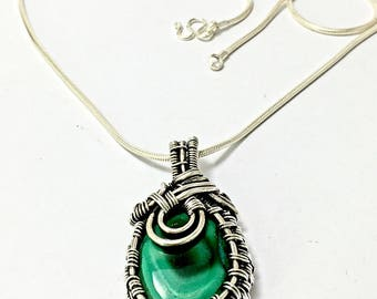 malchaite pendant, silver pendant, wire wrapped pendant, malachite necklace, silver wire jewely, silver necklace, gift for wife, malchite