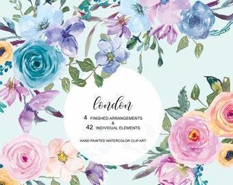 Watercolor Pastel Colorful Flowers Clipart Arrangements & Separate Elements Hand Painted Commercial Use | S70 London