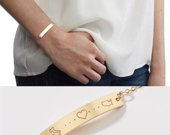 Country to Country Love Bracelet-Long Distance Relationship-Adoption-Best Friend-Going Away Gift-Traveler-14k GF,Rose,Silver-CG311B