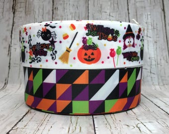 """1 1/2""""  Halloween Trick or Treat Holiday Harlequin Geometric Witch Spider Bat Pumpkin Candy Corn Cheer Hairbow Ribbon - Sold by 5 Yards"""