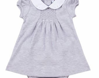 Gray smoked dress and diaper cover