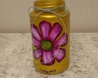 Cosmos Pink Flower Vase Glass Color Gold