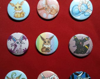 EEVEELUTION badges. Eevee, Flareon, Vaporeon, Jolteon, Umbreon, Espeon, Glaceon, Sylveon, Leafeon.