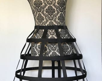 Basic Black Modern Cage Skirt 4-Hoop Skirt Steampunk Halloween