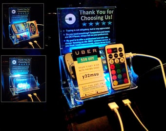 Rideshare 5 USB FAST Charging Station Remote Control LED light Tip box Uber Lyft sign