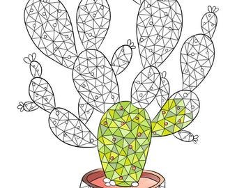 adult coloring page succulent plant coloring page cactus coloring page for adult polygonal - Prickly Pear Cactus Coloring Page