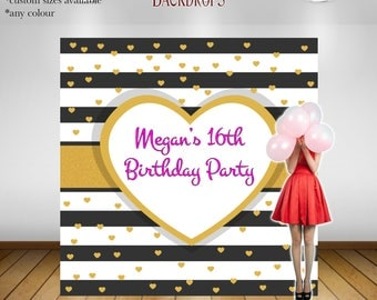 Party Backdrop Printed, Black and Gold Backdrop, Custom Backdrop, Personalized Backdrop, Print or Digital, Free Shipping, Party Decorations