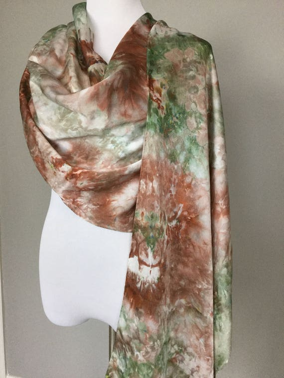 "NEW SIZE 100% Silk WRAP Ice Dyed in Beautiful Browns & Greens Earth Tones Artistic Watercolor 22""x90"" Elegant Rectangle Wrap Oblong #175"
