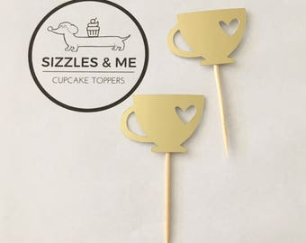 Teacup cupcake toppers