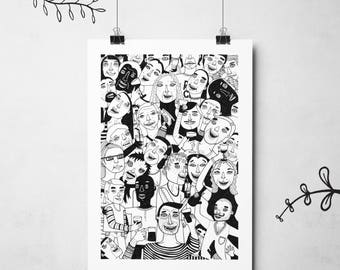 Party illustration black and white