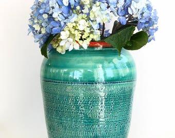 Green Handmade Wheel Thrown Vase