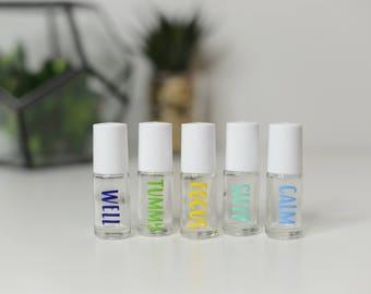 Kids collection BLUE & GREEN / set of 5 / 5ml OR 10ml / Essential Oil Roller Bottles