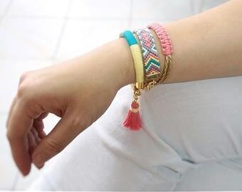 Colorful Hippie Bracelet Set, Wife Summer Bracelet Stack Gift, Woven Festival Bracelet, Wife Boho Bracelet Gift, Pink Stacking Bracelet
