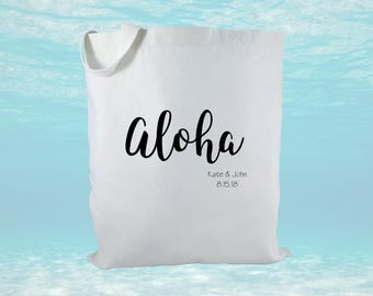 Personalized Wedding Welcome Tote Bag, Canvas Tote Bag, Wedding Gift Bag, Wedding Favors, Hawaii Destination Wedding Welcome Bag
