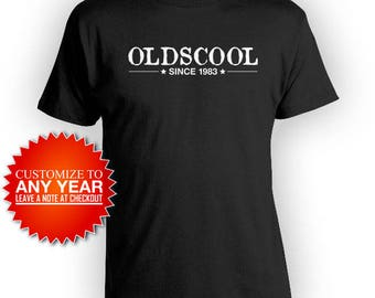 Funny Birthday TShirt 35th Birthday T Shirt Bday Present For Him Custom Birthday Shirt Oldscool Since 1983 Birthday Mens Tee - BG445